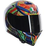 AGV K3 SV Helmet (Rossi 5 Continents - Gloss Blue / Orange / Multi)