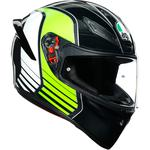 AGV K1 Helmet (Power - Gloss Gunmetal / White / Green)