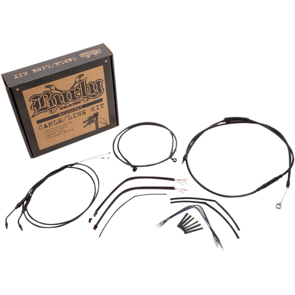 Burly Brand Complete Black Vinyl Handlebar Cable/Brake Line Kit For 14
