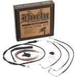 Burly Brand Complete Black Vinyl Handlebar Cable/Brake Line Kit For 13