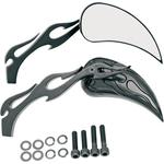 Drag Specialties Flame Mirrors - Black