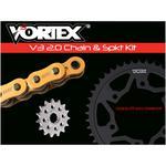 Vortex Steel Chain Kit - Gold - Kawasaki - EX400R Ninja - '18